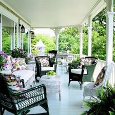 Love the placement of the furniture~Cottage-Style Front Porch by irenepo