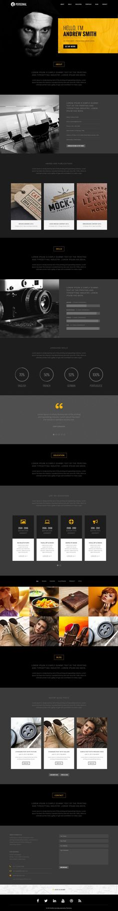 Personal Resume Portfolio One Page Bootstrap Template #CV #webdesign