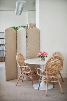 world market screen.  ikea chairs and docksta table. SHELTER: Thoughts on home....design office