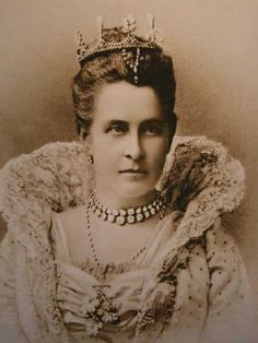 Olga Constantinovna of Russia, Queen consort of the Hellenes and wife of King George I, wearing an Antique Tiara, Greece (19th c.; pearls, diamonds).