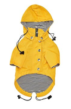 6710adb6be3 Ellie Dog Wear Yellow Zip Up Dog Raincoat with Reflective Buttons