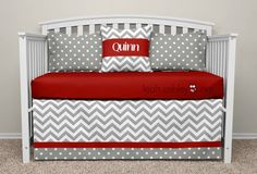 Crib Bedding Set Gray Red Connor P3 by leahashleyokc on Etsy