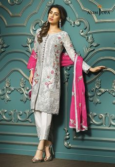Pakistani Fancy Dresses Asim Jofa Mysorie Chiffon Collection consists of women best embroidered luxury suits, perfect for eid, weddings, parties, Pakistani Fancy Dresses, Pakistani Dress Design, Pakistani Outfits, Indian Dresses, Indian Outfits, Pakistan Fashion, India Fashion, Trajes Pakistani, Pakistani Designers