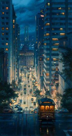 "City illustration ""If You're Going to San Francisco"" by Scott McKenzie Environment Design, Oeuvre D'art, Aesthetic Wallpapers, Amazing Art, Fantasy Art, Fantasy Dragon, Cool Art, Concept Art, Anime Art"
