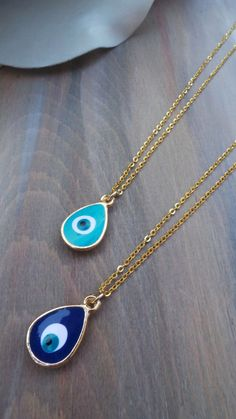 Evil eye necklace. Enamel evil eye by AllAboutEveCreations on Etsy