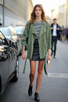 Classic combo - hunter green jacket with bold stripes.