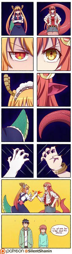 Monster Musume and Dragon Maid. I love both of these, personally Chica Anime Manga, Otaku Anime, Kawaii Anime, 4 Panel Life, Kobayashi San Chi No Maid Dragon, Fan Art Anime, Anime Motivational Posters, Anime Monsters, Miss Kobayashi's Dragon Maid