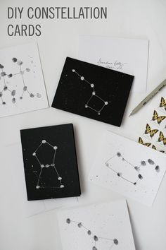 Try out this pretty toddler DIY by crafting Constellation Cards with your little one, using just blank cards, gel pens, paints, and a stamp pad.
