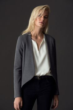 FREE SHIPPING - EASY RETURNS Beautifully tailored with a collarless open-front construction, this streamlined jacket, which can also double as a blazer, is cut from an organic cotton modal ponte blend