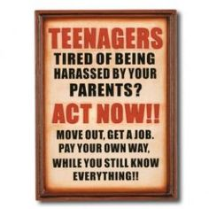 """RAM Gameroom \""""Note To Your Teenagers\"""" Outdoor Sign - ODR821 - Outdoor Art - Wall Art & Coverings - Decor"""