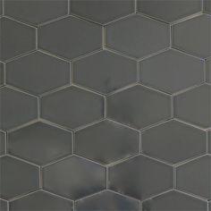Ceramic stretched hex tile for kitchen backsplash or bathroom tile in grey color Carbon.