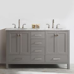 ROSWELL Gela 60 in. W x 22 in. D x 35 in. H Vanity in Grey with Marble Vanity Top in White with Basin-723060-GR-CA-NM - The Home Depot