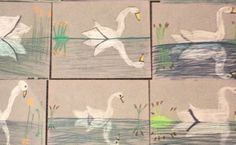 Swan Reflections Art Lesson This art lesson can be used for 3rd grade and up. This is a great lesson in symmetry for the upper grades.