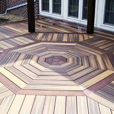 This elaborate octagonal deck pattern, worthy of the pros, won its rookie creator the Cool Deck, Diy Deck, Basement Remodel Diy, Basement Remodeling, Patio Gazebo, Backyard, Motif Hexagonal, Deck Patterns, Pallet Floors