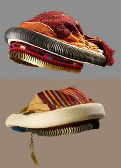 "Traditional headpieces from Ramallah (Palestine), ca. 1900. Such 'smadeh' is a horseshoe-shaped headpiece padded roll with a row of large silver coins attached, called saffe. The 'smadeh' was embroidered in cross-stitch and covered with a veil called 'khirkah'. A chin-chain is usually suspended from each side of the 'smadeh' with an ornamental coin hanging beneath the chin"" (Palestine Heritage Foundation)."