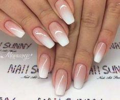 White Gel Nails, Rose Gold Nails, Glitter Nails, Solid Color Nails, Nail Colors, White Nail Designs, Nail Art Designs, Bridal Nail Art, Bridal Pedicure