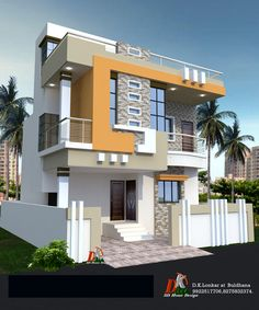 North Facing House Elevation Designs Independent House Villa Design Building Elevation House Elevation House Front Front Elevation Designs For North Facing House Bungalow House Design, House Front Design, Small House Design, Modern House Design, Door Design, Building Elevation, House Elevation, Modern House Colors, Front Elevation Designs