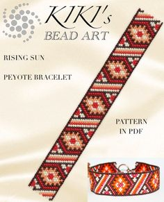 Pattern, peyote bracelet - Rising sun peyote bracelet pattern in PDF - instant download