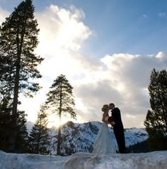 Winter wedding Photo tip: Watch that sunset and hide the sun behind a tree for best photo op!