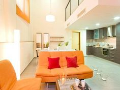 Browse our Barcelona apartments to find the right long-term rental for you! Barcelona Apartment, 1 Bedroom Apartment, Double Bedroom, Rental Apartments, Ground Floor, Terrace, Couch, Flooring, Daily Deals