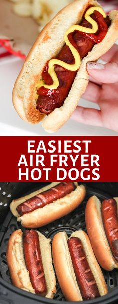 Cooking hot dogs has never been easier than in the Air Fryer! Air Fryer Hot Dogs are perfectly 'grilled' in no time and with hardly any effort Quiches, Fast Healthy Meals, Easy Meals, Dog Recipes, Cooking Recipes, Ninja Recipes, Easy Recipes, Fried Hot Dogs, Recipes