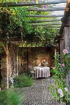 Tuscany :: pergola I love patios and pergolas! Outdoor Rooms, Outdoor Dining, Outdoor Gardens, Dining Area, Outdoor Sheds, Garden Cottage, Home And Garden, Garden Nook, Cacti Garden