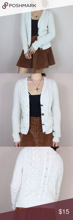 Zara cream knitted button up cardigan ••buy one get one 50% off!•• Size: S Brand: Zara  * the end of the sleeves are slightly dirty but nothing serious. Also has 3 very very tiny stains which I'm sure can be washed out!*   - Price is negotiable - Make sure to ask for measurements! No returns for items that don't fit correctly. - Comes from smoke/ pet free environment.  - No holds! First come first serve  - Not responsible for lost/damaged mail  - All sales are final Zara Sweaters Cardigans