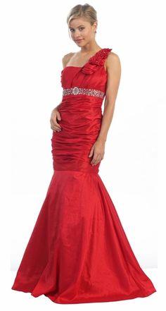 One Shoulder Red Taffeta Long Mermaid Dress Beading Flower Strap