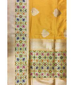 Yellow Handloom Banarasi Pure Katan Silk Saree