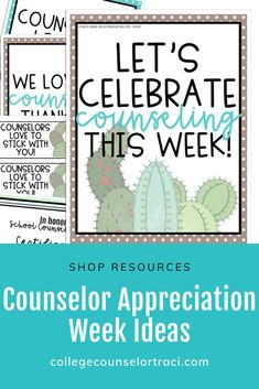 This National School Counseling Week set is a fun cactus themed resource! Shop College Counselor Traci for more ideas! Counselor Bulletin Boards, Counselor Office, National School Counseling Week, All Colleges, College Success, Appreciation Gifts, I School, Board Ideas, Cactus