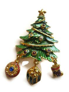 CHRISTOPHER RADKO Brooch Christmas Tree Quirky Hipster Unusual Fashion Style #Radko