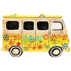 Yellow Hippie Van Ceramic Cookie Jar (€66) ❤ liked on Polyvore featuring home, kitchen & dining, food storage containers, decorative objects, ceramic food storage containers, cookie jar, yellow cookie jar, food safe storage containers and cookie tins