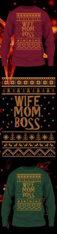 Wife Mom Boss Christmas Sweater - Get this limited edition ugly Christmas Sweater just in time for the holidays! Click to buy now!