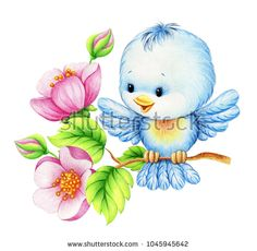 Cute bird illustration, flowers decor elements.