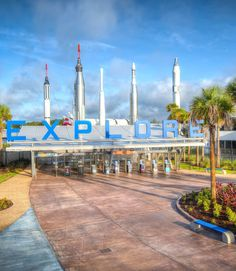 Kennedy Space Center Visitor Complex Entrance –Explore Sign - 3 hours away! Atlantic Coast side of Florida!