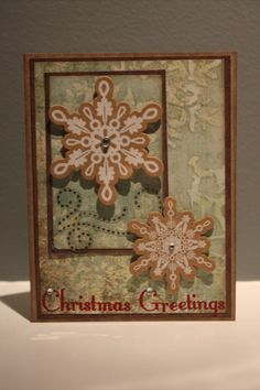 Christmas card handmade (No link available) Love the colors. Make background paper with mists and bleach stamping.