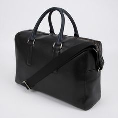 9fb596e535b Paul Smith Men's Black Pebble Embossed Leather Weekend Bag