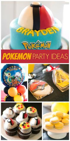 A Pokemon boy birthday party with cool cupcakes, cookies and a pokeball cake! See more party planning ideas at CatchMyParty.com!