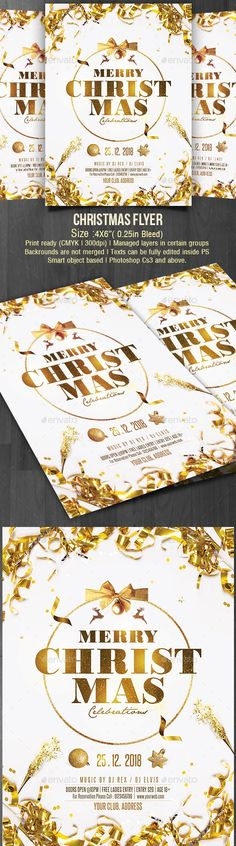 Buy Christmas by creativevalues on GraphicRiver. This Golden Christmas Flye is one of the best flyer design for your upcoming Christmas with luxury look. Christmas And New Year, Christmas Fun, Xmas, Christmas Flyer Template, Flyer Printing, Backrounds, Flyer Design, Templates, Poster