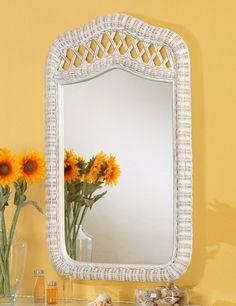 Sea Wind Trading Santa Cruz Mirror in White Wash Wall Mirror Vertical, Tropical Bedrooms, Wicker Mirror, Weaving Patterns, Elegant Homes, Home Decor Bedroom, Modern Rustic, House Styles, Sea