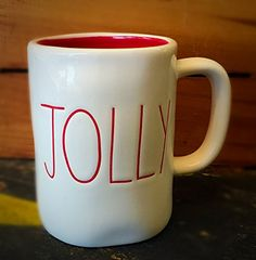 """Jolly"" Christmas Coffee Mug Magenta By Rae Dunn Red Interior!"