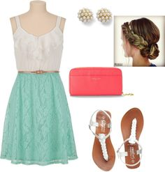 """Coral and Aqua Dress up"" by emjaysesthetics on Polyvore"