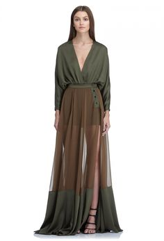 AQ/AQ Peshley Sheer Chiffon Maxi Skirt with Side Split · Khaki Green ·