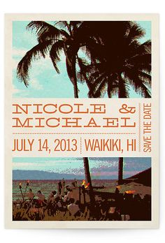 Brides: Beach Wedding Invitations. The retro '70s, surf-poster vibe of this save-the-date design feels very Endless Summer.