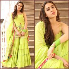 Sara Ali Khan in Sukriti and Aakriti outfit. Styled by Tanya Ghavri and Namrata! Indian Gowns, Indian Attire, Pakistani Dresses, Indian Wear, Indian Outfits, Eid Dresses, Special Dresses, Indian Clothes, Stylish Dresses