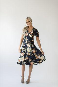 Nora Floral Wrap Dress - Navy 68def8e276397