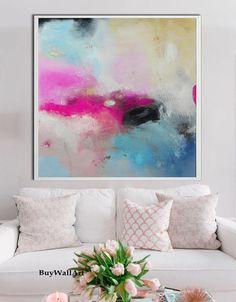 Grote roze teal kunst abstract schilderij roze door BuyWallArt