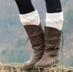 Knitted Boot Cuff  Woman   ivory Short Cable Knit by EmofoFashion, $26.00
