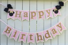 Minnie Mouse Pink and gold birthday banner Minnie Mouse birthday party Minnie…