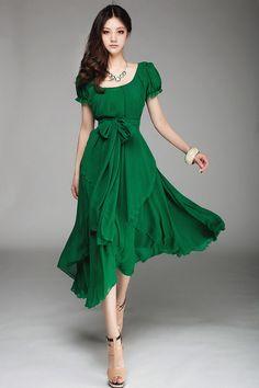 Pas cher Haute qualité! New summer femmes style décontracté , plus la taille jolies dames élégante robe cheville longueur en mousseline de soie expansion robes, Acheter  Robes de qualité directement des fournisseurs de Chine: